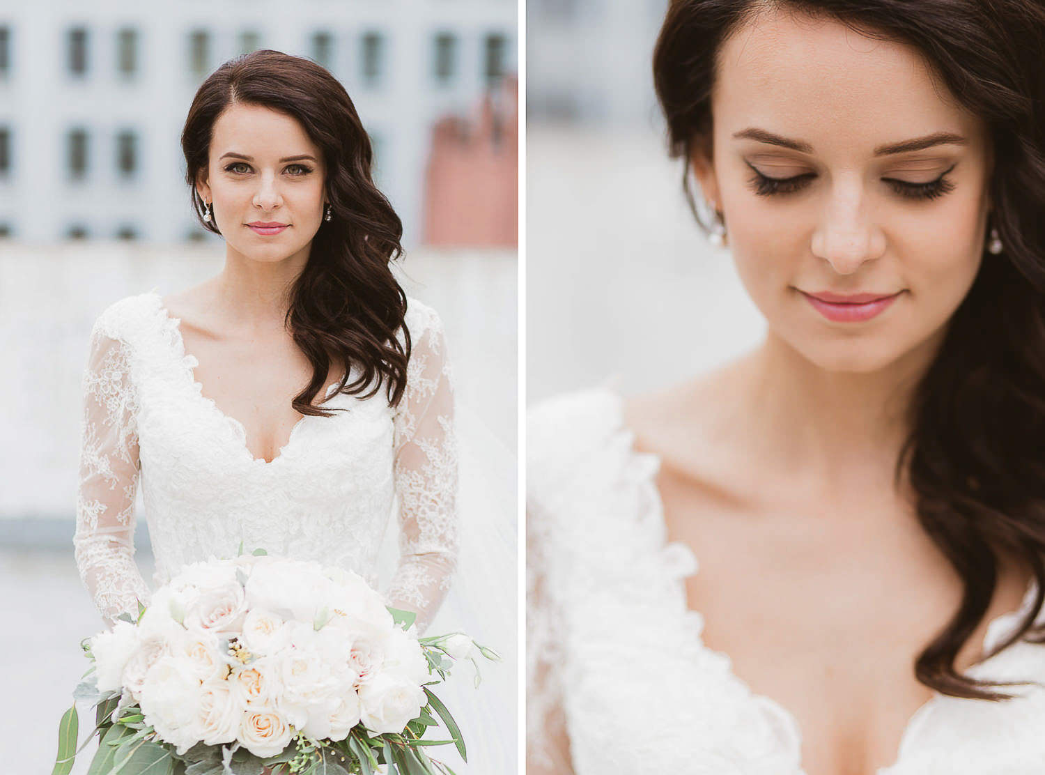 Chic stylish wedding in downtown Vancouver. The bride is wearing a stunning lace Maggie Sottero gown   Photo: Camilla Anchisi