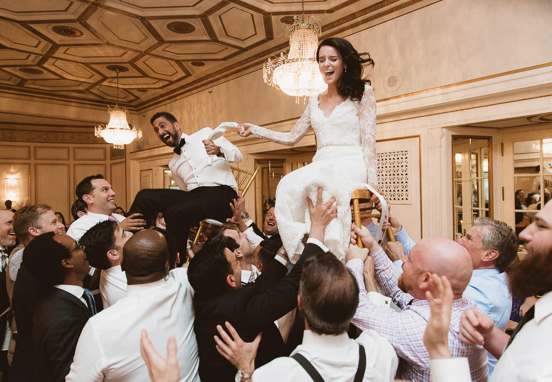 Jewish wedding reception - Horah time in luxury Fairmont Hotel