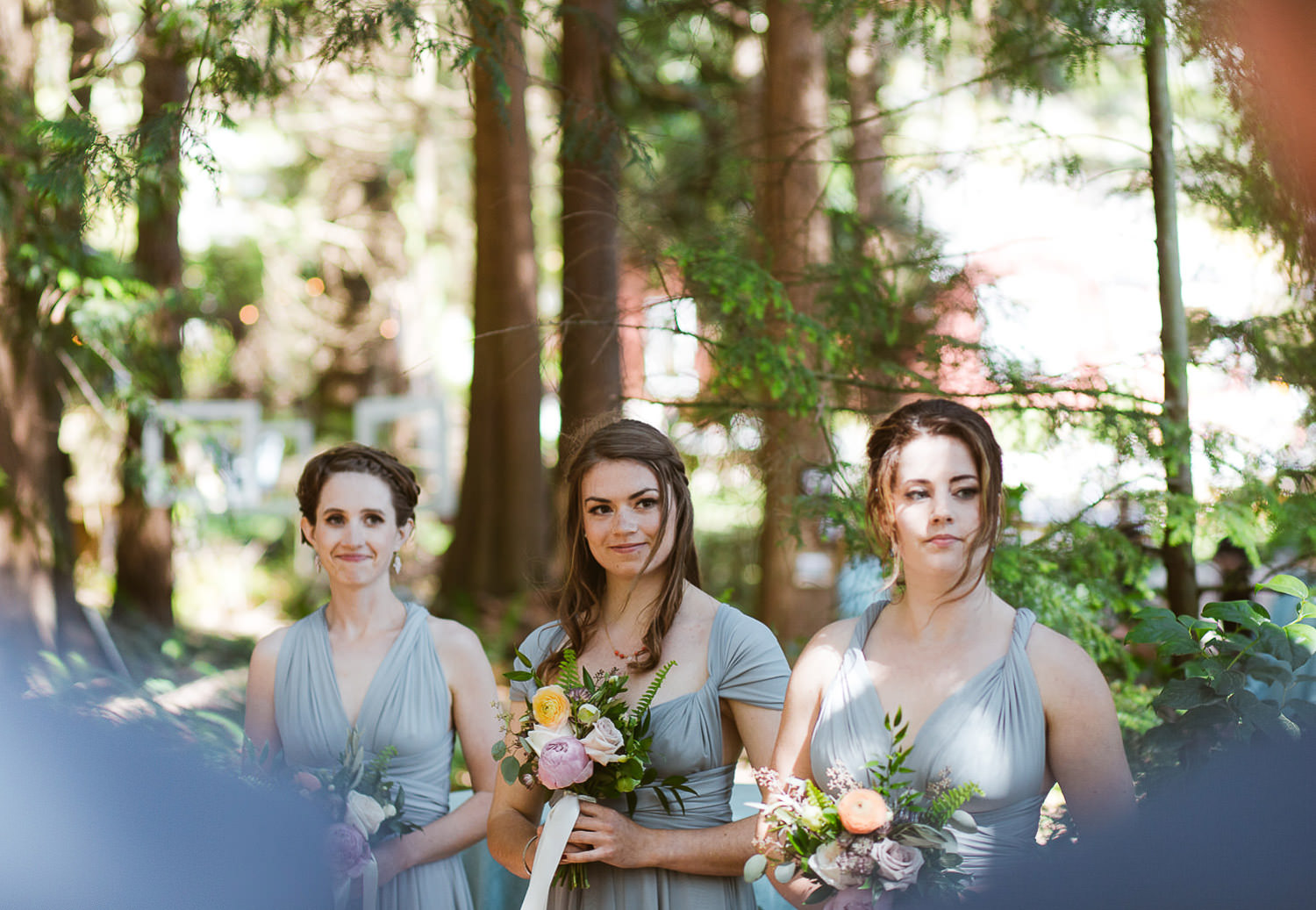 Intimate wedding ceremony into the woods - Bridesmaids