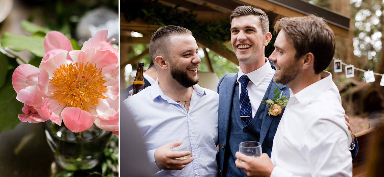 Happy time during cocktail hour - Intimate Boho wedding into the woods