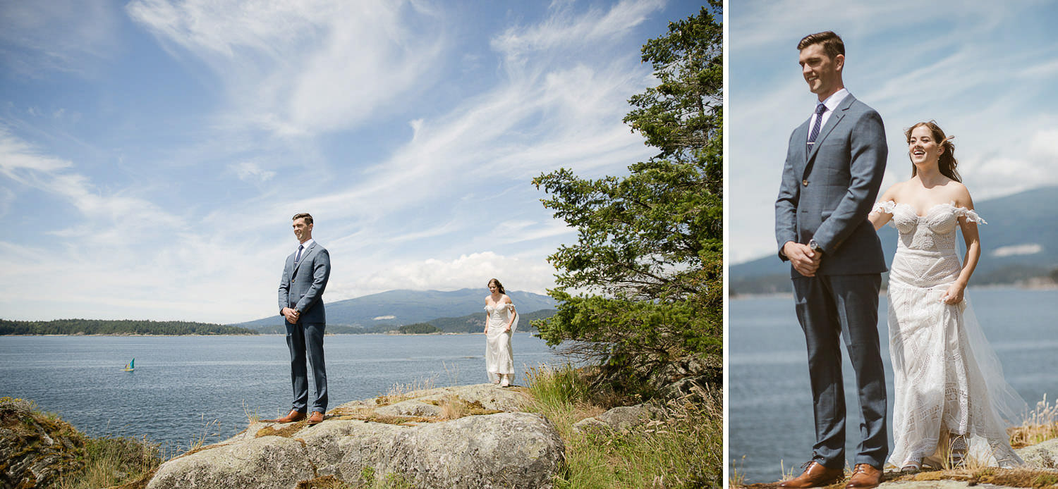 Seaside first look with Rue De Seine bride