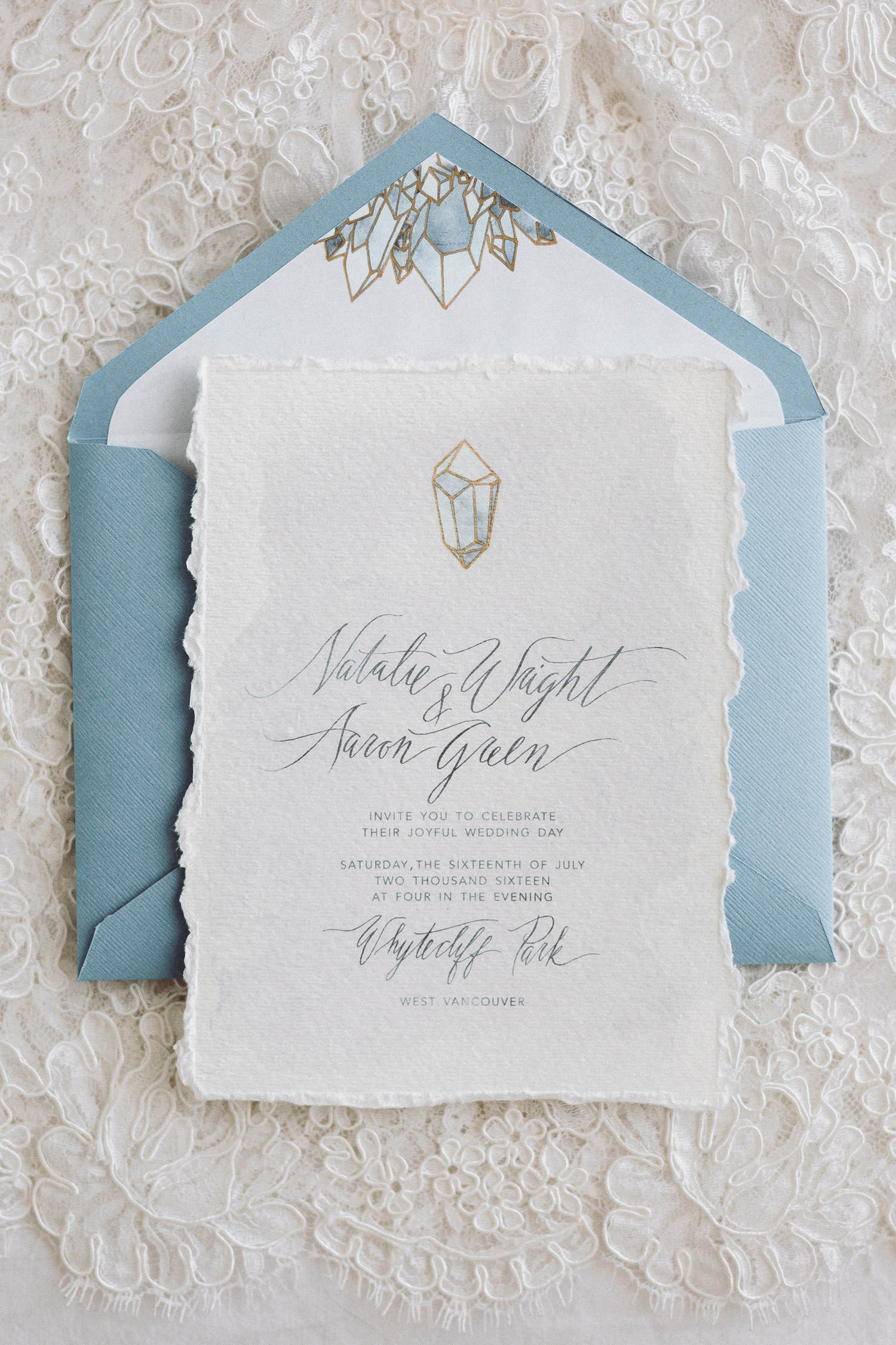 Bespoke crystal quartz inspired wedding stationery with modern calligraphy - Boho Elopement