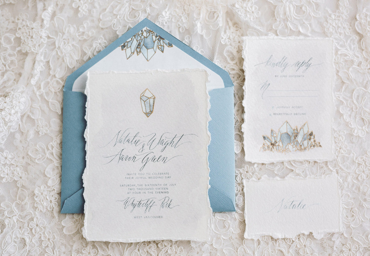 Bespoke wedding invite with modern calligraphy and watercolors designed by Camilla Anchisi