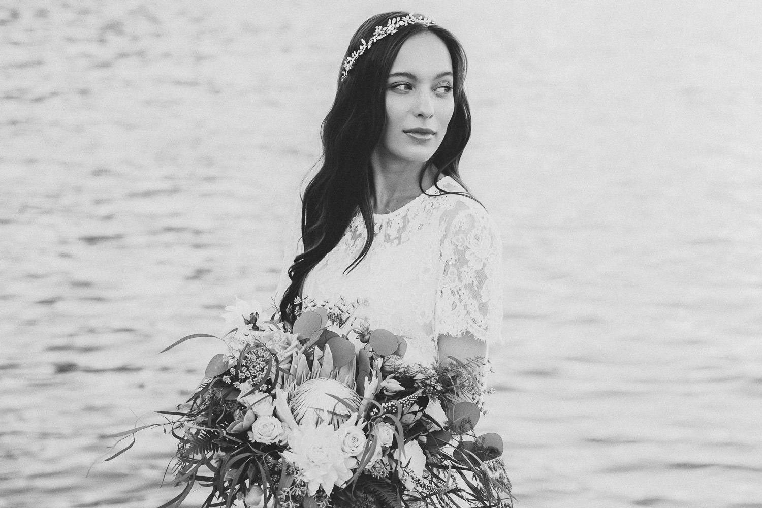 Ethereal bride with a lush, botanical bouquet