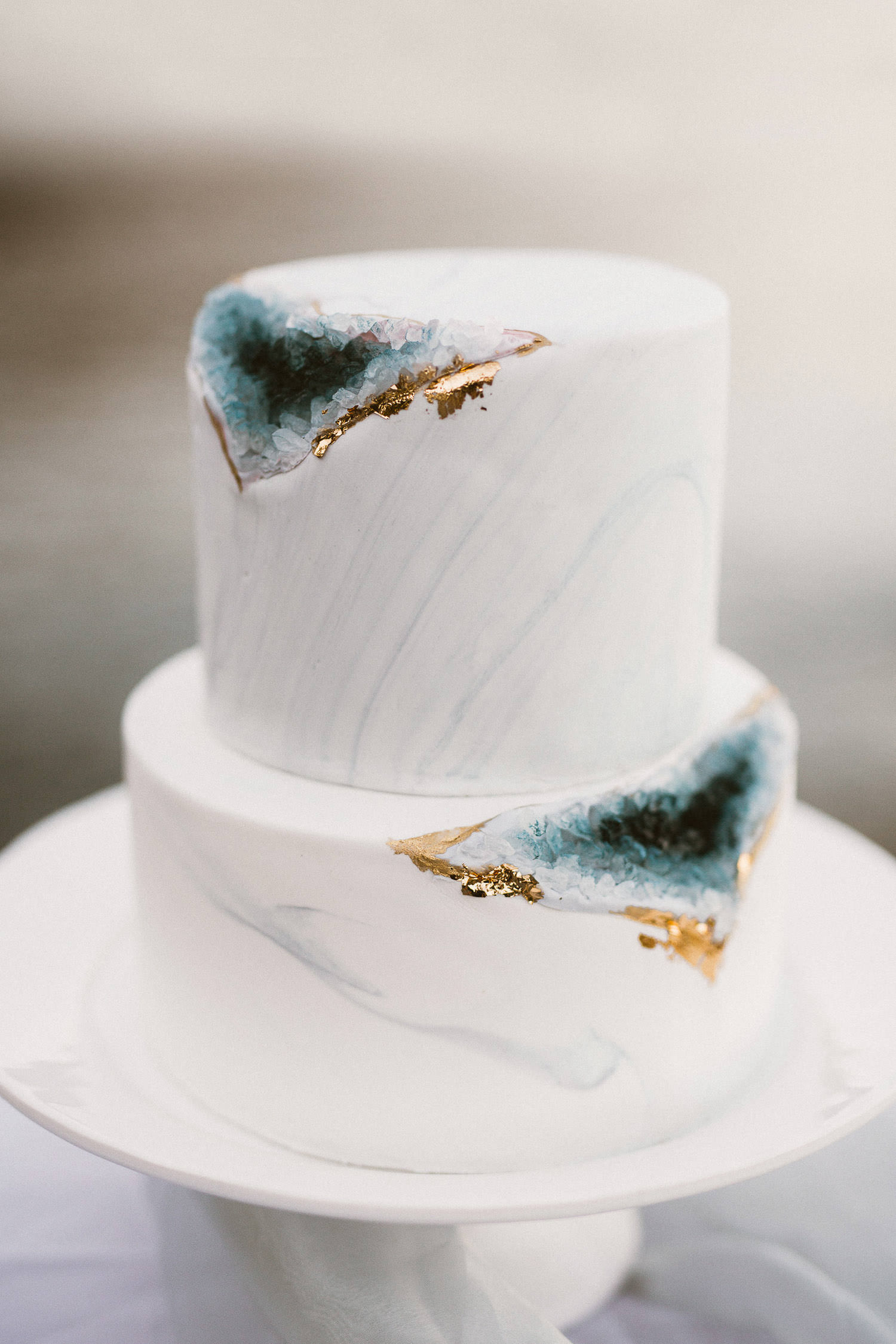 Refined wedding cake with crystal quartz inspiration created by Momo Chen Cakes