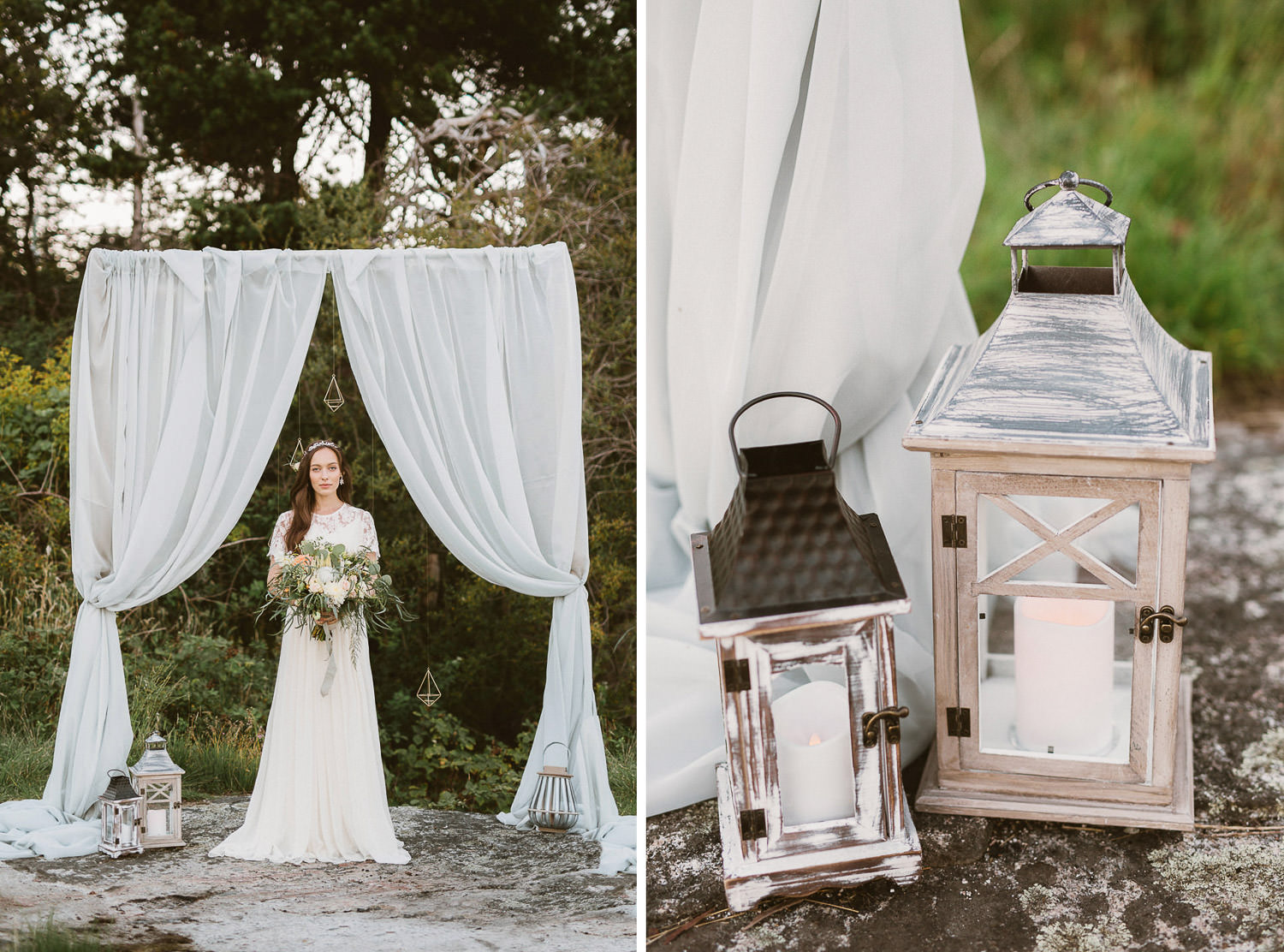 Refined wedding decor for an ethereal boho coastal wedding inspiration