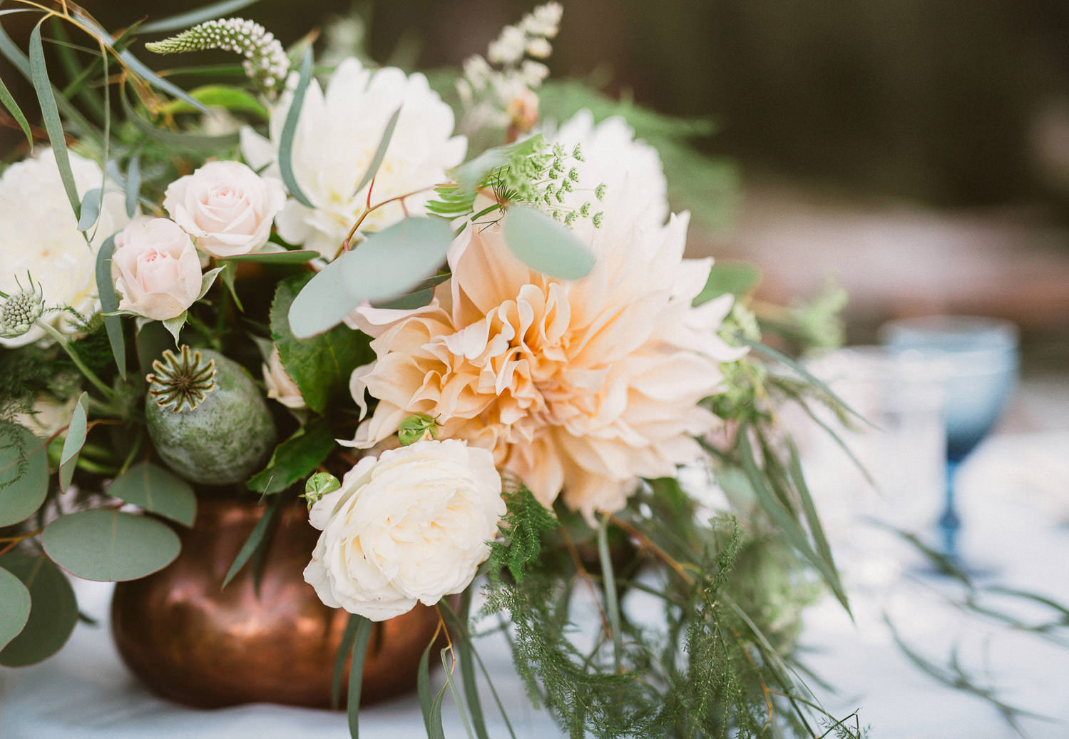 Lush and botanical inspired centerpiece -Coastal seaside wedding