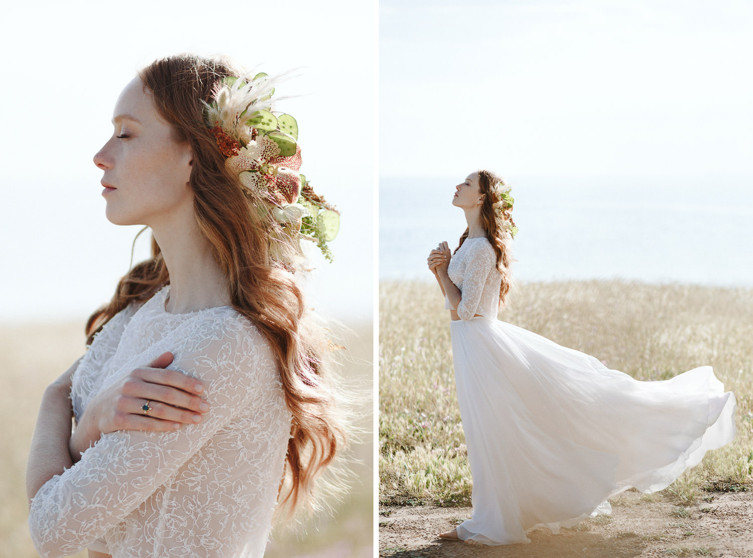 Ethereal and beautiful bride wears a flowing chiffon gown designed by Silvia Valli - Photo: Camilla Anchisi