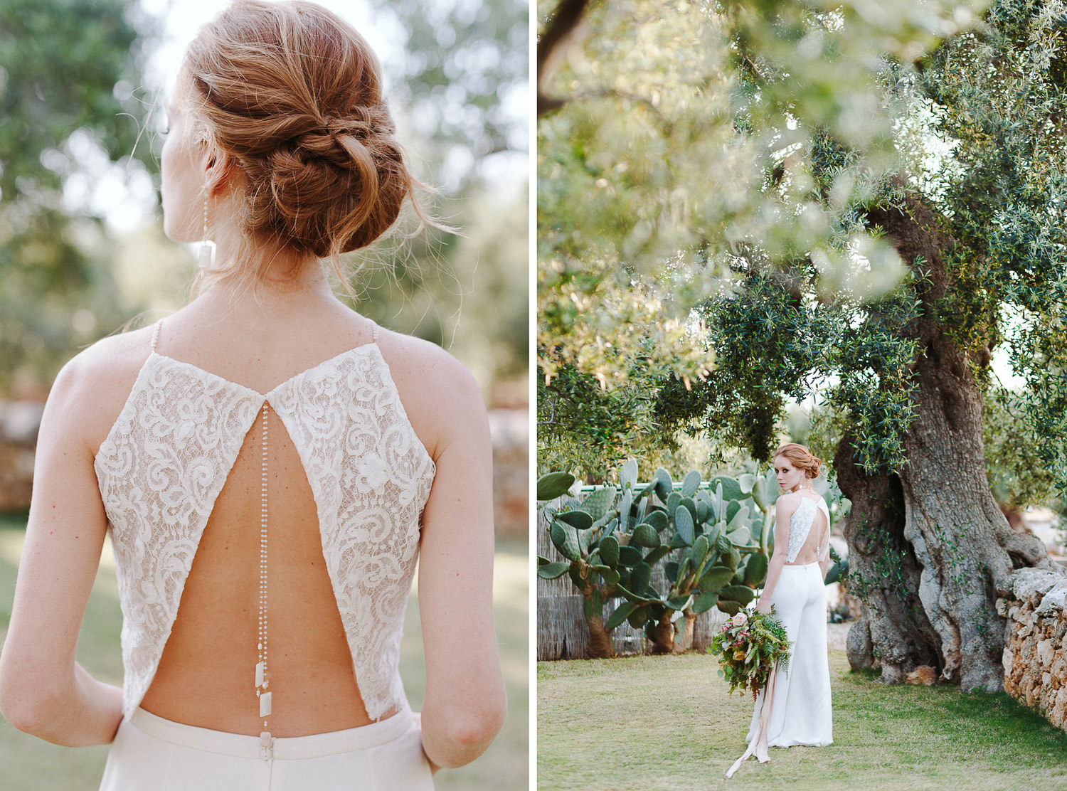 Romantic bride wears a delicate French lace top with jewel detail made by Silvia Valli Atelier - Photo: Camilla Anchisi