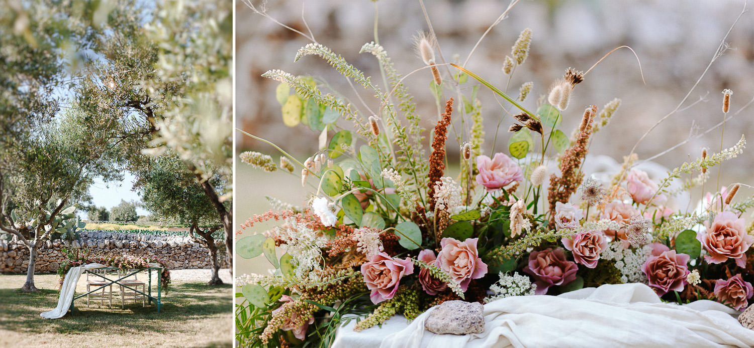 Lush wedding floral decor - Alfresco dinner in Apulian masseria