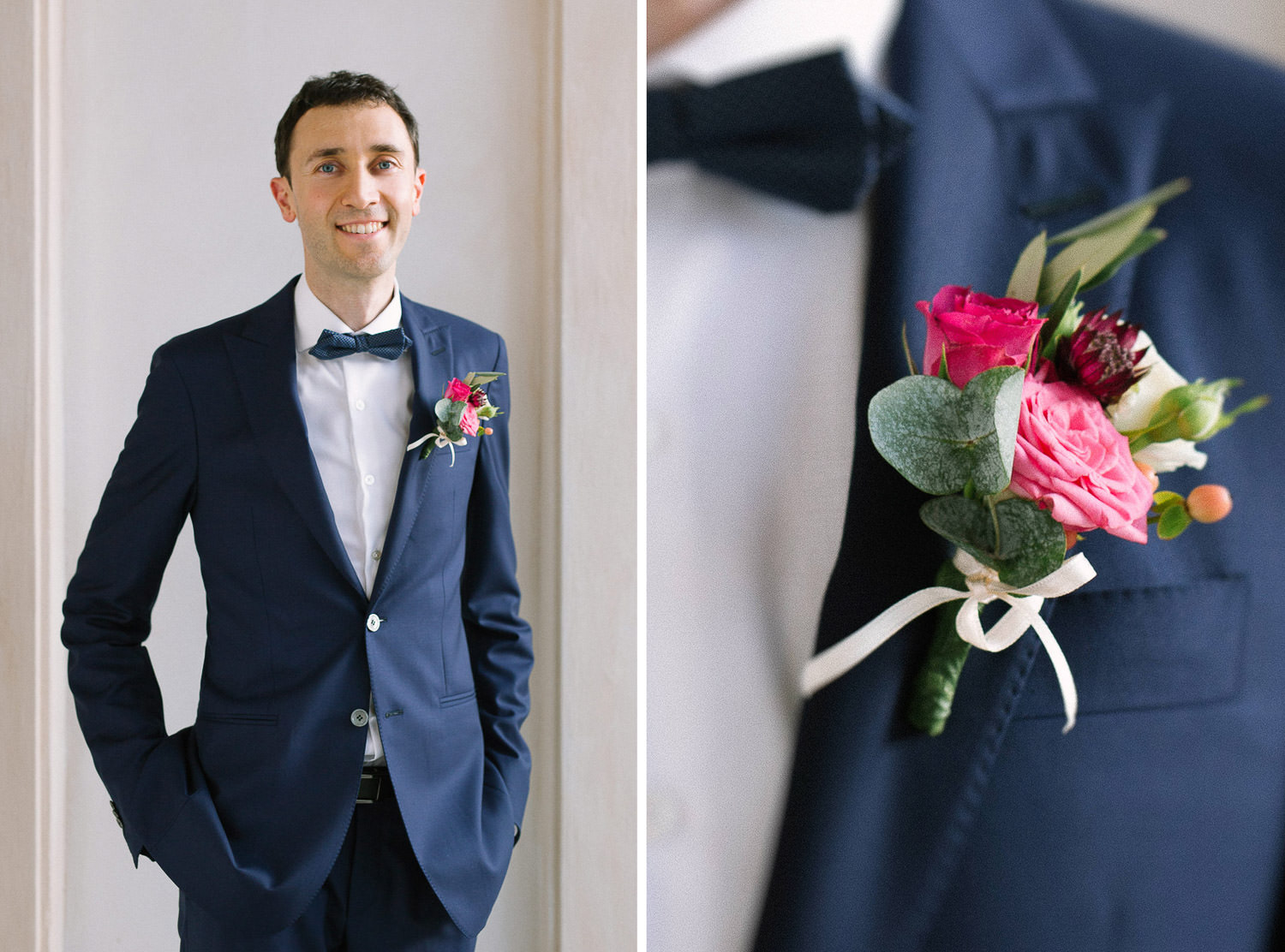 Groom portraits and elegant blue suit details