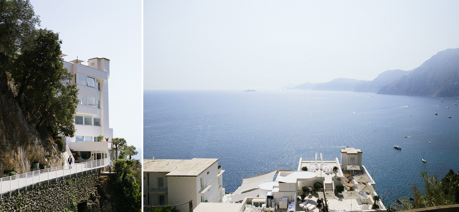 Stunning view of the Amalfi Coast and rooftop of Casa Angelina luxury hotel