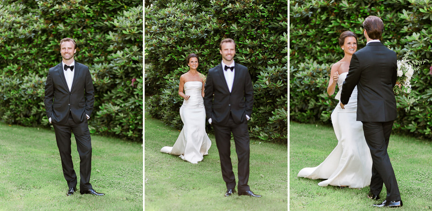 First look in the garden with an elegant couple and Oscar de la Renta bride