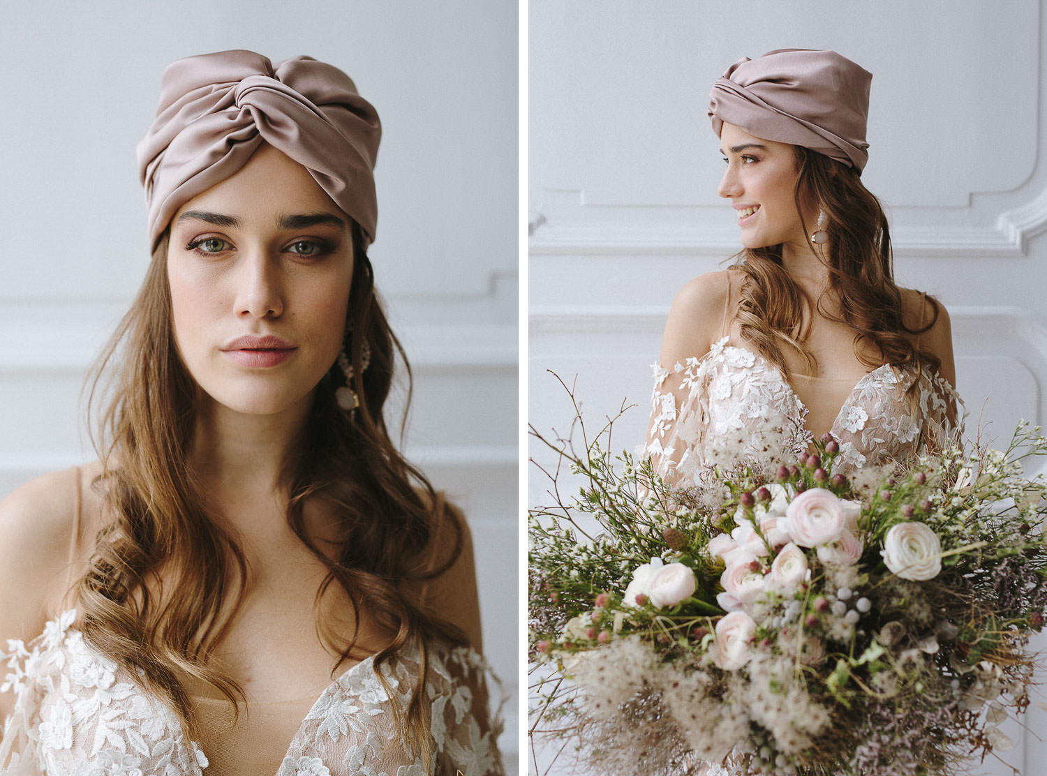 Stylish and modern bride with Bridal Turban at Villa Bianca Stucchi, Cernobbio - Lake Como wedding photographer Camilla Anchisi