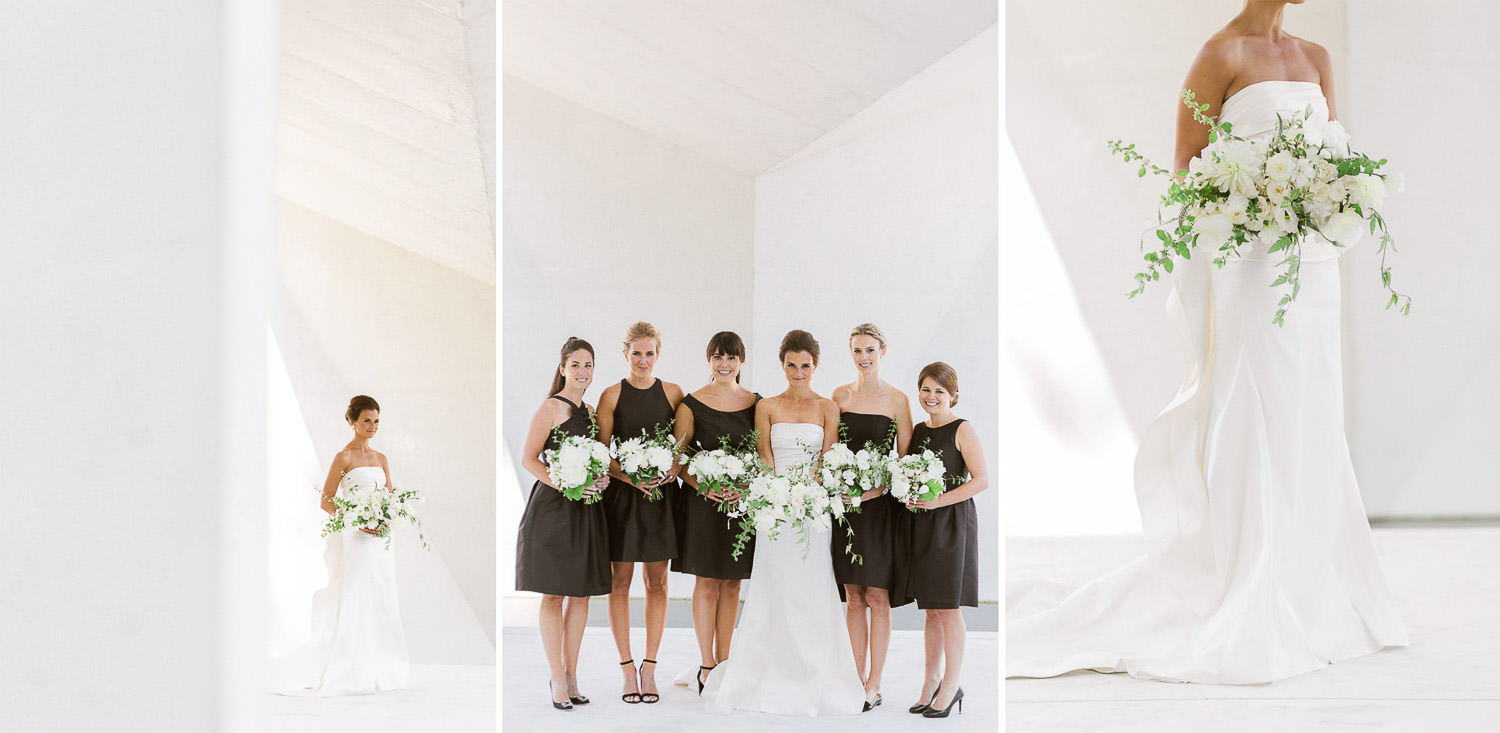 Stunning and stylish bridal party in black and white