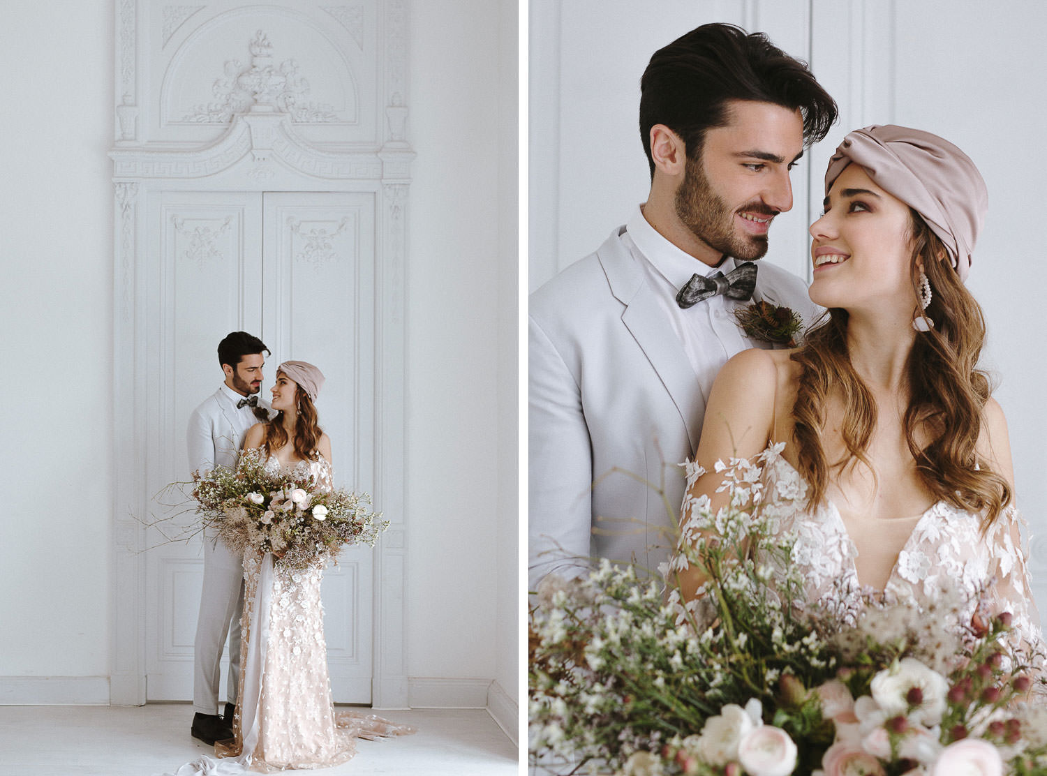 Lake Como villa wedding: gorgeous couple portraits at Villa Bianca Stucchi | Photo: Camilla Anchisi