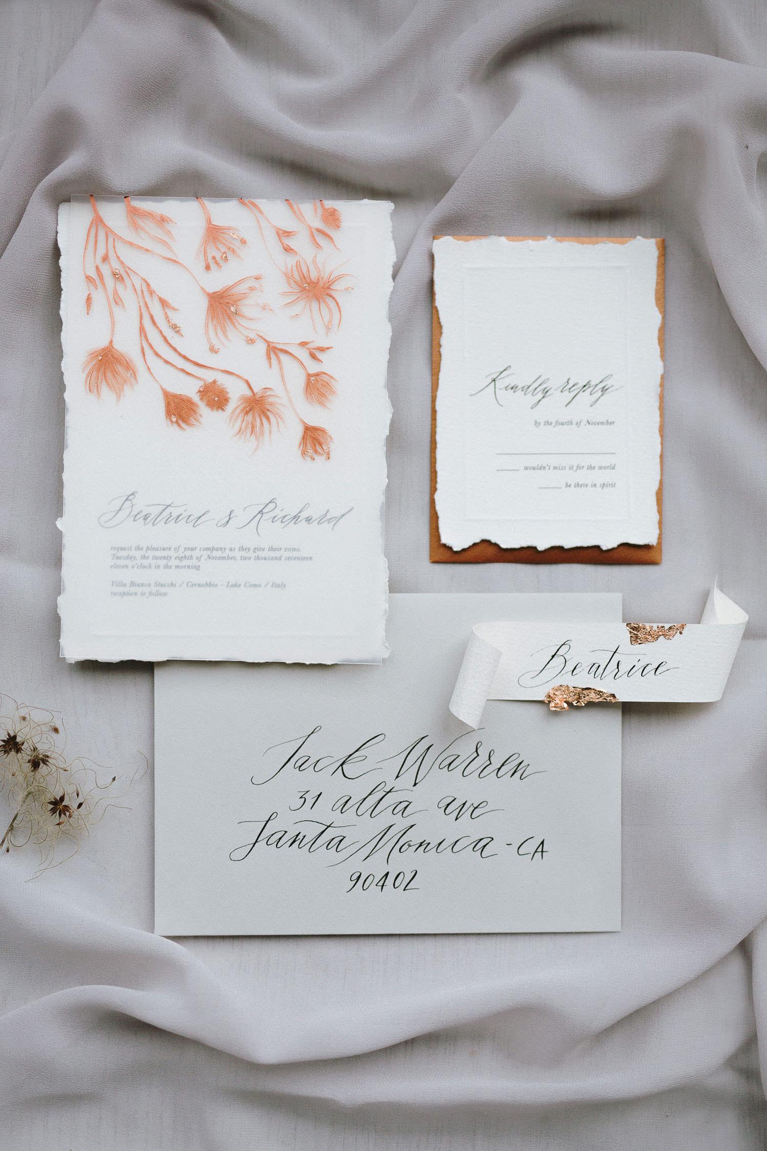 Inviti di matrimonio su misura per evento esclusivo | Design e foto: Camilla Anchisi