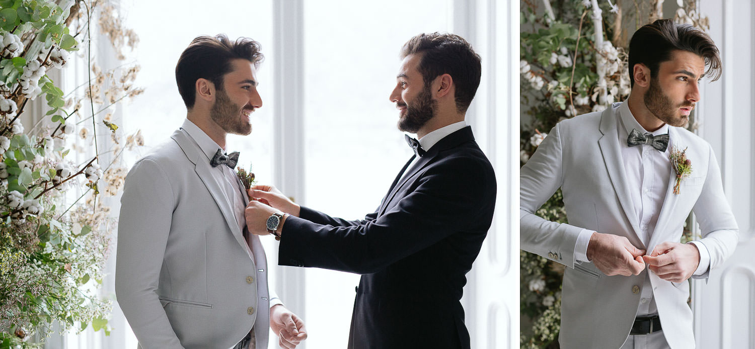 Linneo Archivable tailored suit - groom getting ready on Lake Como wedding venue | Photo Camilla Anchisi