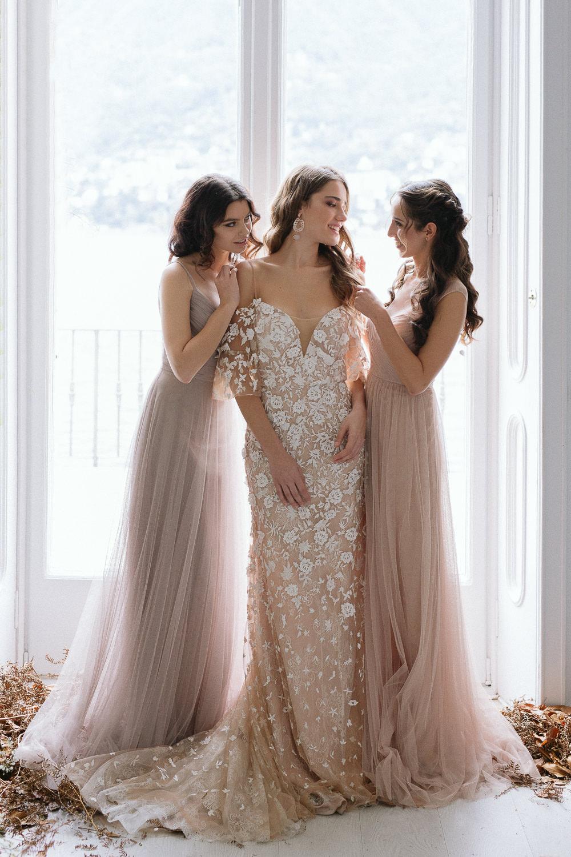 Mismatched-bridesmaids-dresses-Lake-Como-wedding