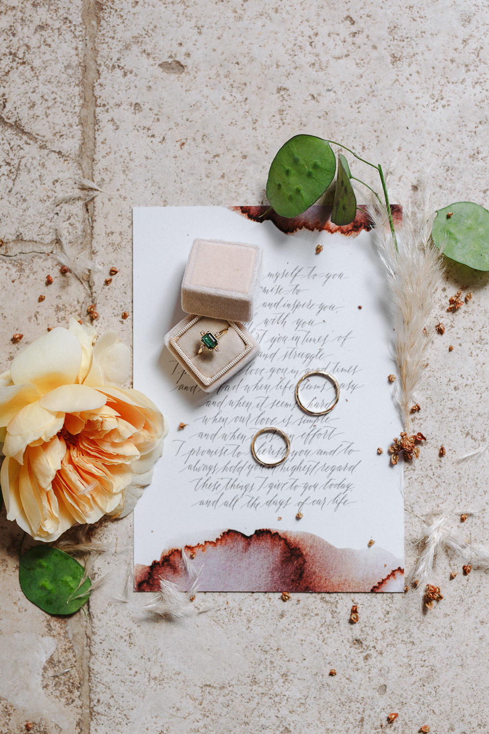 Momdern calligraphy wedding vows | Design & Calligraphy: Camilla Anchisi Design | Photography: Camilla Anchisi Photography