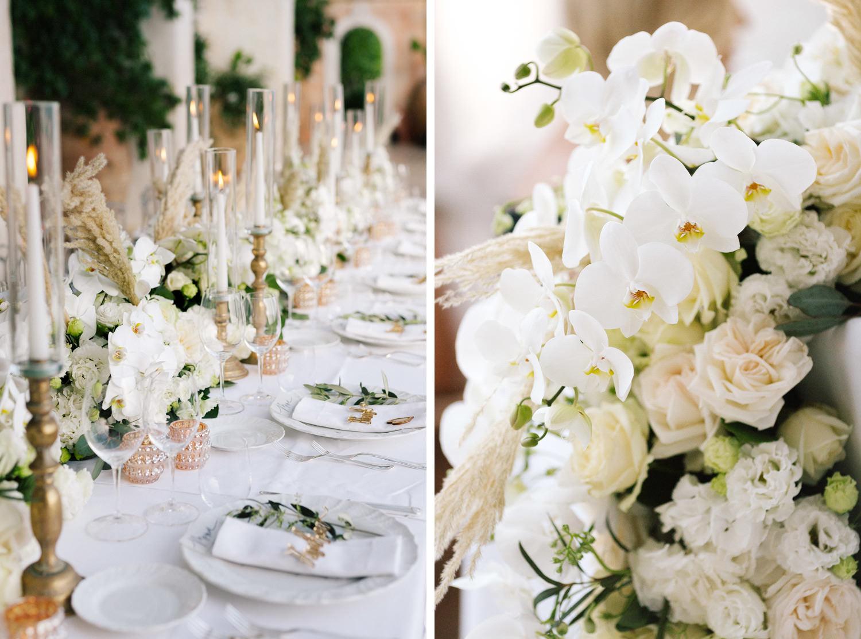 Positano Villa San Giacomo luxury wedding: table setting with lush floral arrangements | Photo: Camilla Anchisi Photography | Planning: Weddings Italy | Florals: FloraGardenaldo